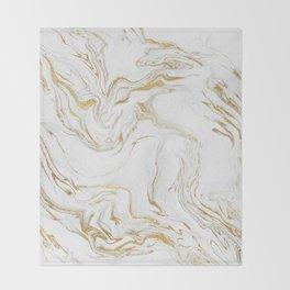 Liquid gold marble Throw Blanket