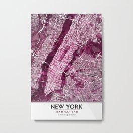 Black Rose Print Showing Manhattan NYC in Peony Floral Styling Metal Print