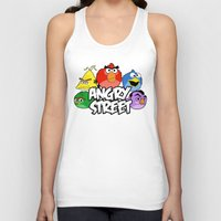 sesame street Tank Tops featuring Angry Street: Angry Birds and Sesame Street Mashup by Olechka