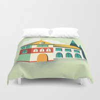 house Duvet Covers featuring House by Mila Spasova