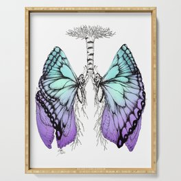 Butterfly Lungs Blue Purple Serving Tray