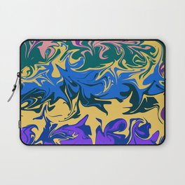 Hurricane II, abstract color storm in blue, purple and yellow Laptop Sleeve