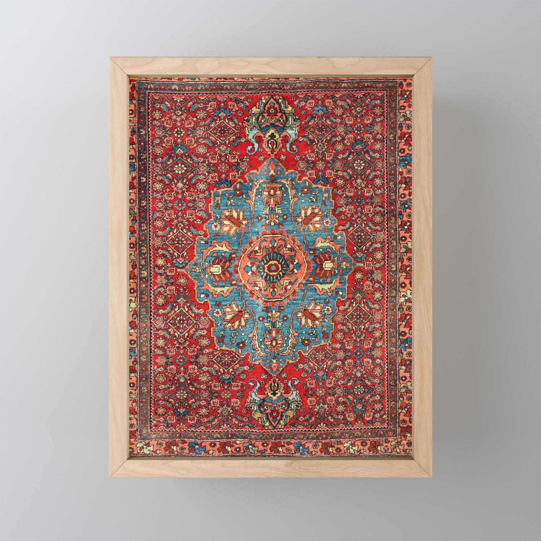 Bidjar Antique Kurdish Northwest Persian Rug Print Framed Mini Art Print By Vickybragomitchell