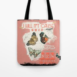ISAIAH 66:9  Abstract Scripture Collage Art Butterflies Bible Verse Tote Bag