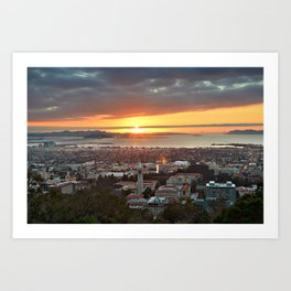 View of San Francisco Bay Area at Sunset from UC Berkeley Art Print