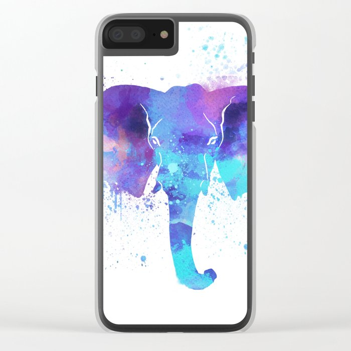 Watercolor Elephant Head Clear iPhone Case