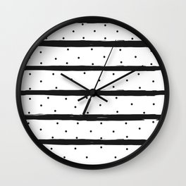 Seamless Pattern with dark stripes and dots Wall Clock