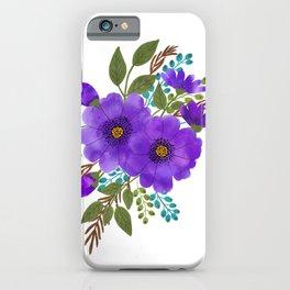 Purple Aquarelle Roses Bouquet iPhone Case