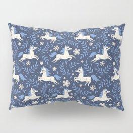 Floral Ponies (Dark Blue) Pillow Sham