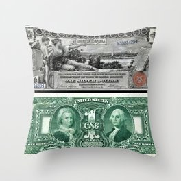Vintage 1886 US $1 Dollar Bill Silver Certificate - Allegory History Instructing Youth Throw Pillow