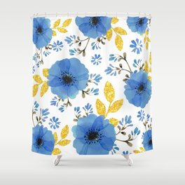 Blue flowers with golden leaves Shower Curtain