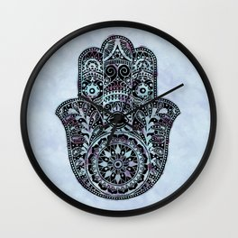 Watercolor Blue Pink Hamsa Hand Wall Clock