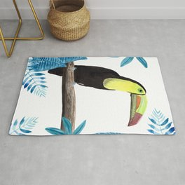 Toucan with tropical leaves in watercolor Rug