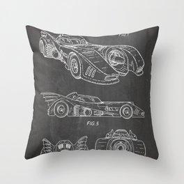 Batmobile Patent - Bat Mobile Art - Black Chalkboard Throw Pillow