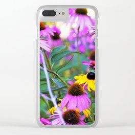 Yellow Flowers in the Purple Coneflower Garden Clear iPhone Case