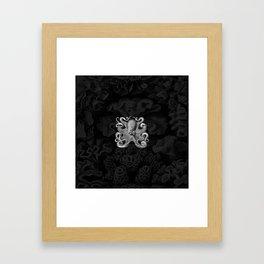 Octopus1 (Black & White, Square) Framed Art Print
