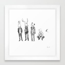 animal heads with suits Framed Art Print