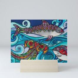 A Shiver of Sharks Mini Art Print