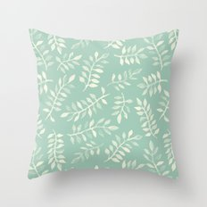 Painted Leaves - a pattern in cream on soft mint green Throw Pillow