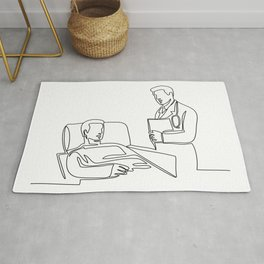 Hospital Patient and Doctor Continuous Line Rug