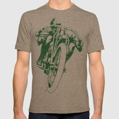 Motorcycle Board Track Racer 2 Mens Fitted Tee X-LARGE Tri-Coffee
