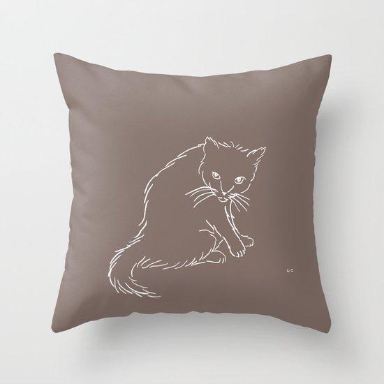 Latte Cat Throw Pillow