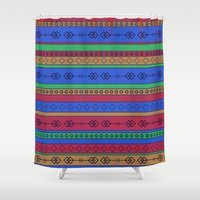 southwest Shower Curtains featuring Southwest Bonanza  by Rebecca L. Davis