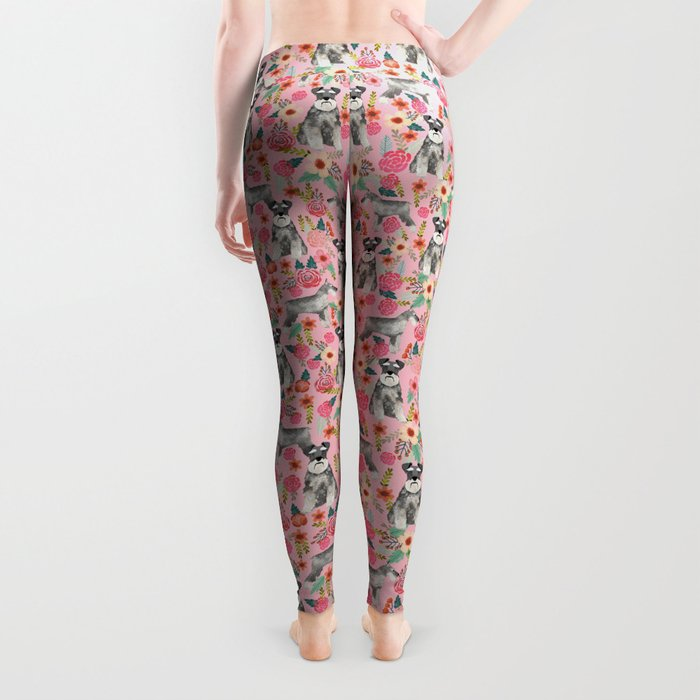 Schnauzer floral dog breed must have gifts for schnauzers Leggings