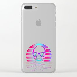 Synth Pop 80s & 90s Aesthetic Skull. Retro Vaporwave design print Clear iPhone Case