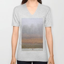 Wild ducks and cormorants at foggy sunrise  Into the foggy lake Unisex V-Neck