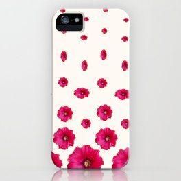 WHITE DOUBLE CERISE HOLLYHOCK FLOWERS GARDEN iPhone Case