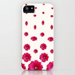 WHITE DOUBLE CERISE HOLLYHOCK FLOWERS GARDEN iPhone Case
