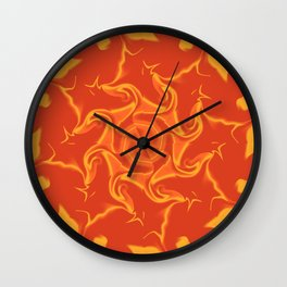 Red Orange and Yellow Kaleidoscope 3 Wall Clock