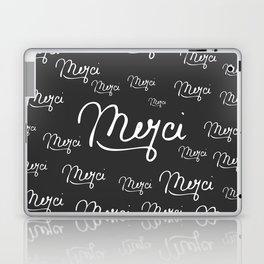"""Merci"" French Quote Black & White Pattern Laptop & iPad Skin"