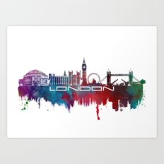 London skyline city blue  Art Print