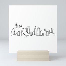 Barcelona Skyline in one draw Mini Art Print