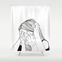 introvert Shower Curtains featuring Introvert 1 by Heidi Banford