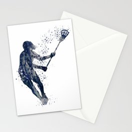 Girl Lacrosse Navy Blue Colorful Watercolor Sports Art Stationery Cards