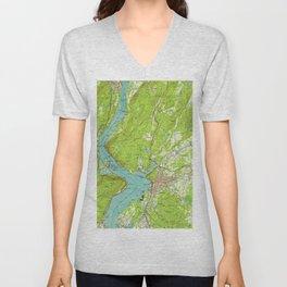 Vintage Map of Peekskill New York (1947) Unisex V-Neck