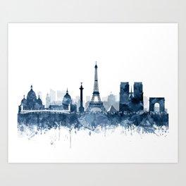 Paris City Skyline Watercolor Blue by zouzounioart Art Print