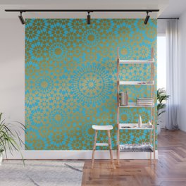 Moroccan Nights - Gold Teal Mandala Pattern 1 - Mix & Match with Simplicity of Life Wall Mural