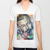 hemingway V-neck T-shirts featuring Ernest Hemingway by Marta Zawadzka