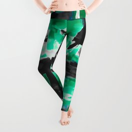 psychedelic vintage camouflage painting texture abstract in green and black Leggings