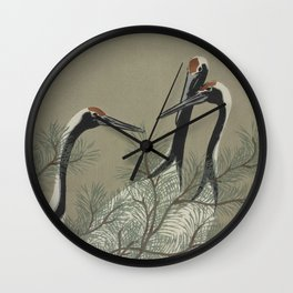 Japanese Red Crowned Crane Wall Clock