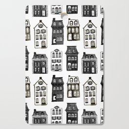Mansard Mansions in Black + White Watercolor Cutting Board