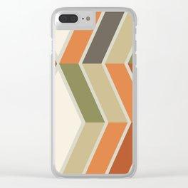 Mid Century Modern Diagonal Stripes Green Orange Clear iPhone Case