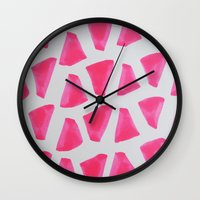 watermelon Wall Clocks featuring Watermelon  by Allyson Johnson