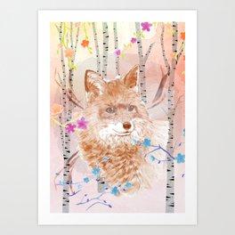 Fox in the birch tree forest Art Print