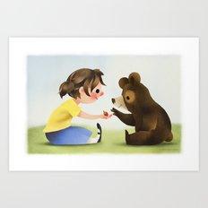 Girl And Bear Sharing Berries Art Print