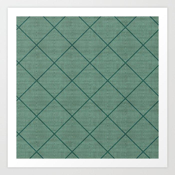 Stitched Diamond Geo Grid in Green